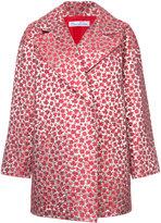 Oscar de la Renta metallic (Grey) floral drop shoulder coat