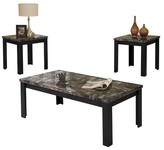 ACME Furniture 3 Piece Carly Pack Coffee End Table Set Faux Marble and Black - ACME
