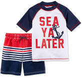 Carter's 2-Pc. Sea Ya Later Rash Guard & Swim Trunks Set, Little Boys & Big Boys