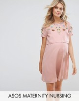 ASOS Maternity - Nursing ASOS Maternity NURSING Embellished Flower Double Layer Dress
