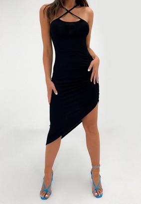 Missguided Black Cross Front Asymmetric Hem Midaxi Dress