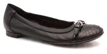 "Attilio Giusti Leombruni D558034"" Black Leather and Python Ballet Flat"
