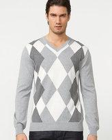 Le Château Silk Blend Argyle V-Neck Sweater