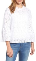 Velvet by Graham & Spencer Women's Bell Sleeve Eyelet Blouse