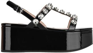 Miu Miu Crystal-embellished Flatform Sandals