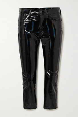 Junya Watanabe Cropped Iridescent Faux Glossed-leather Skinny Pants - Black