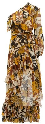 Dundas One-shoulder Floral-print Silk Dress - Yellow Print