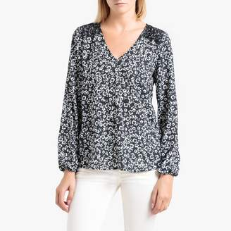 Liu Jo Printed Long-Sleeved Blouse with V-Neck