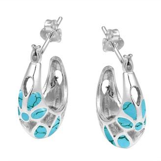 Aeravida Handmade Mesmerizing Blue Turquoise Embedded Sterling Silver Half Hoop Earrings