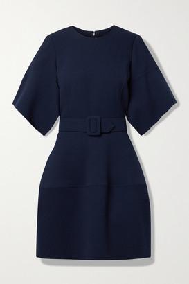 Oscar de la Renta Belted Wool-blend Gauze Mini Dress - Navy