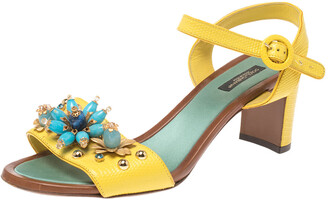 Dolce & Gabbana Yellow/Blue Lizard Embossed Leather Crystal Embellished Ankle Strap Sandals Size 39