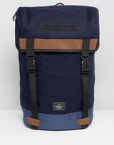 Asos Hiker Backpack In Navy Melton With Contrast Trims