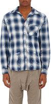 NSF Men's Paint-Splatter Plaid Cotton Shirt-BLUE