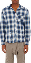 NSF Men's Paint-Splatter Plaid Cotton Shirt