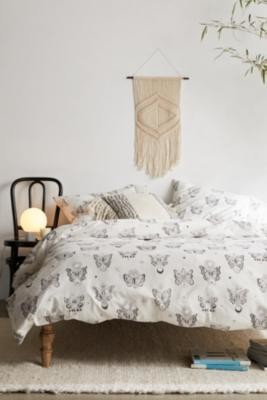 Urban Outfitters Gothic Butterfly Duvet Cover Set With Reusable Fabric Bag - Black SINGLE at