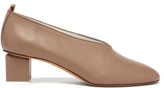 Gray Matters Mildred Block-heel Leather Pumps - Womens - Nude