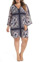 Vince Camuto Plus Size Women's Print Chiffon Bell Sleeve Shift Dress