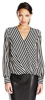 Trina Turk Women's Laurynn Sidecar Stripe Long Sleeve Silk Blouse