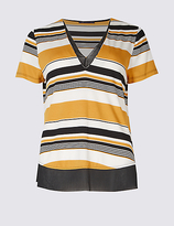 M&S Collection Striped V-Neck Short Sleeve T-Shirt