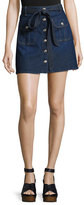 7 For All Mankind A-Line Button-Front Denim Miniskirt, Indigo