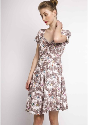 Compania Fantastica Floral Print Heart Neckline Dress