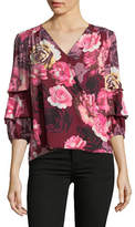 I.N.C International Concepts Petite Floral Tucked Sleeve Blouse