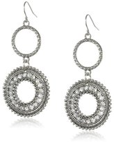 Jessica Simpson Silver and Crystal Double Drop Earrings