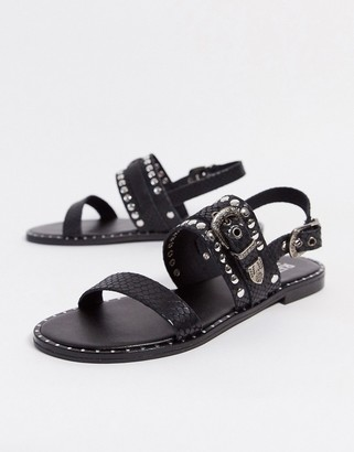 Replay buckle sandals in black