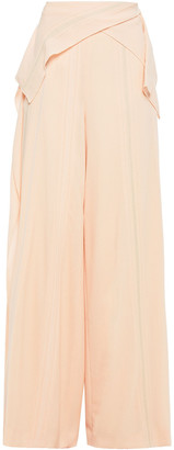 Roland Mouret Argott Draped Embroidered Wool-crepe Wide-leg Pants