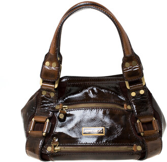 Jimmy Choo Jimmy Choco Brown Patent Leather and Suede Mahala Satchel