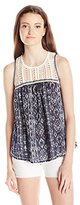 Jolt Women's Printed Knit Bottom Lace Yolk