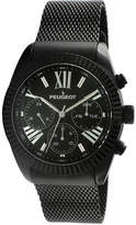 Peugeot Mens Black Stainless Steel Mesh Strap Watch 1045BK