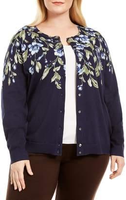 Karen Scott Plus Floral Cotton-Blend Cardigan