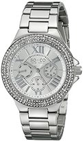 SO&CO New York Women's 5019.1 Madison Quartz Day and Date Crystal Bezel Stainless Steel Link Bracelet Watch