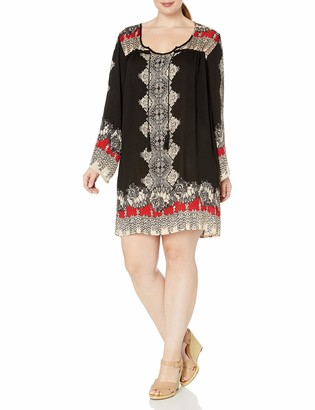 Angie Women's Plus Size Printed Bell Sleeve Dress