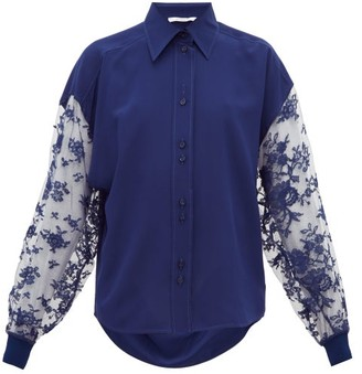 Givenchy Floral-lace Silk-crepe Blouse - Womens - Blue