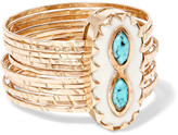 Pascale Monvoisin Bowie 9-karat Rose Gold, Turquoise And Resin Ring