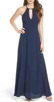 LuLu*s Women's Halter A-Line Chiffon Gown