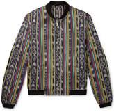 Saint Laurent Reversible Ikat Cotton And Silk-Blend Jacquard Bomber Jacket