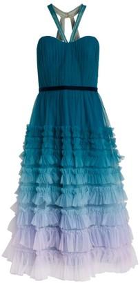 Marchesa Ruffle Halterneck Dress
