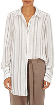 Robert Rodriguez Women's Embroidered-Stripe Cotton-Blend Voile Shirt