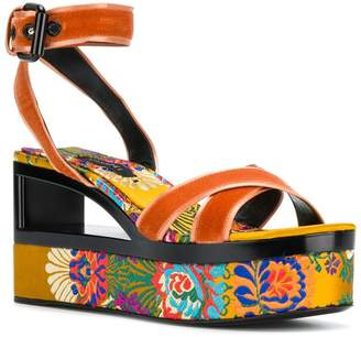 Casadei floral embroidered cut-out detail sandals