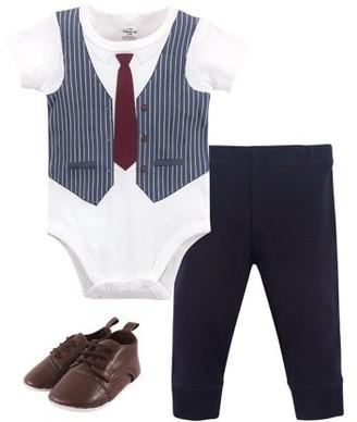 Little Treasure Baby Boy Bodysuit, Pants & Shoes, 3pc Outfit Set