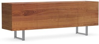 "Calligaris Horizon 82.75"" Wide 1 Drawer Sideboard Color (Base/Top): Walnut/Frosted Extraclear Glass"