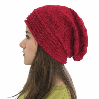 Yivise Womens Slouchy Beanie Crochet Knit Beret Ribbed Winter Summer Hat Baggy Skull Cap(Red)