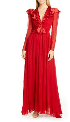 Giambattista Valli Ruffle Long Sleeve Silk Chiffon Gown