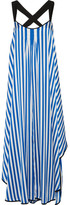 By Malene Birger Shalana Asymmetric Striped Satin Maxi Dress - Blue