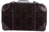 Gucci Crocodile-Trimmed Jacquard Suitcase