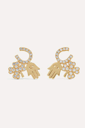 Sydney Evan Luck And Protection 14-karat Gold Diamond Earrings - one size