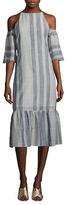 Lucca Couture Stripe Cold Shoulder Drop Waist Dress